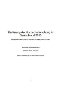 Kartierung der Hochschulforschung in Deutschland 2013. Bestandsaufnahme der hochschulforschenden Einrichtungen