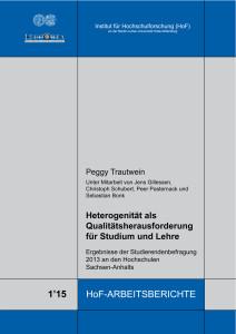 Heterogenität als Qualitätsherausforderung für Studium und Lehre. Ergebnisse der Studierendenbefragung 2013 an den Hochschulen Sachsen‐Anhalts